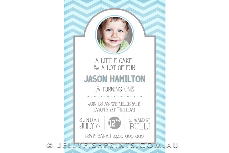Blue 1st birthday photo invitation design. Chevron background and party info in a white frame.