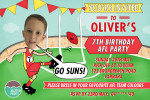 AFL birthday invitation in Gold Coast Suns colours