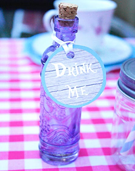 Elixir bottle with Alice in Wonderland quote - Drink Me