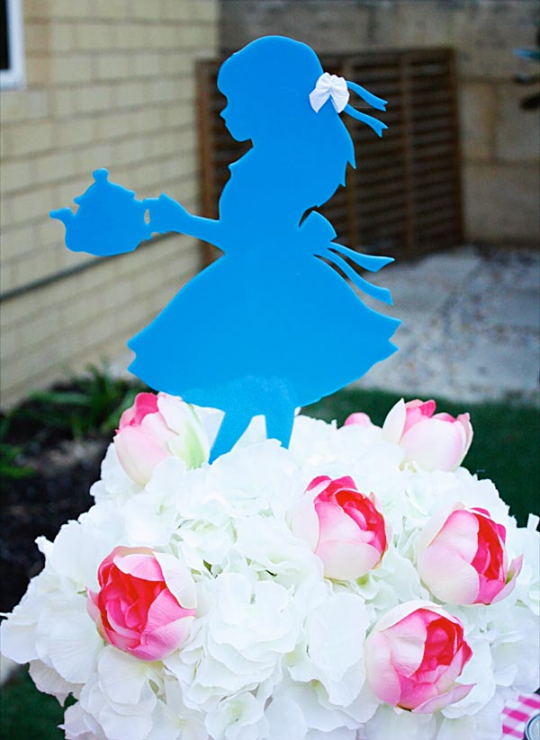 Flowers for Alice in Wonderland birthday party