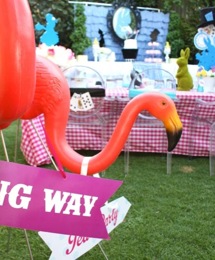 Pink Flamingo party props.