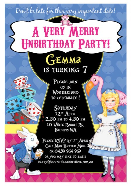 Birthday invitation for kids Alice in Wonderland party.