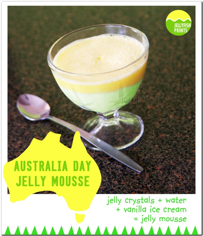 Green and gold jelly mouse dessertfor Australia Day