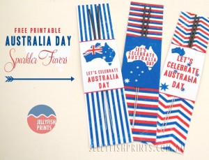 DIY printable for Australia Day favor sparkler gifts