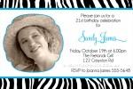 Zebra print invitations with blue frames