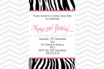 Zebra print inviations without photo.
