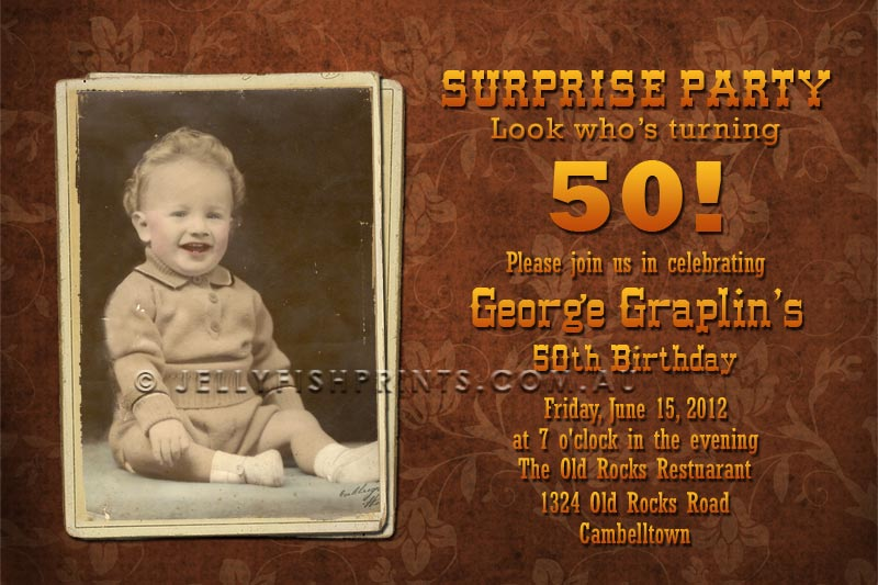 Single photo 50th birthday invitation