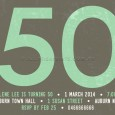Party invitation for a 50th birthday celebration - mint green