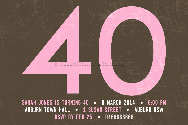 Pink 40th Birthday Invitation