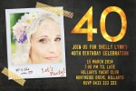 Gold 40th birthday photo invitation