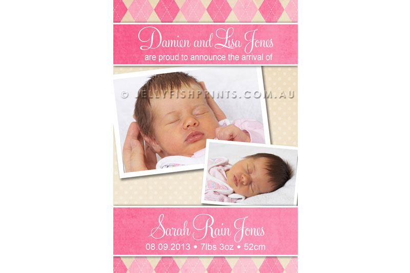 Pink baby girl birth announcements