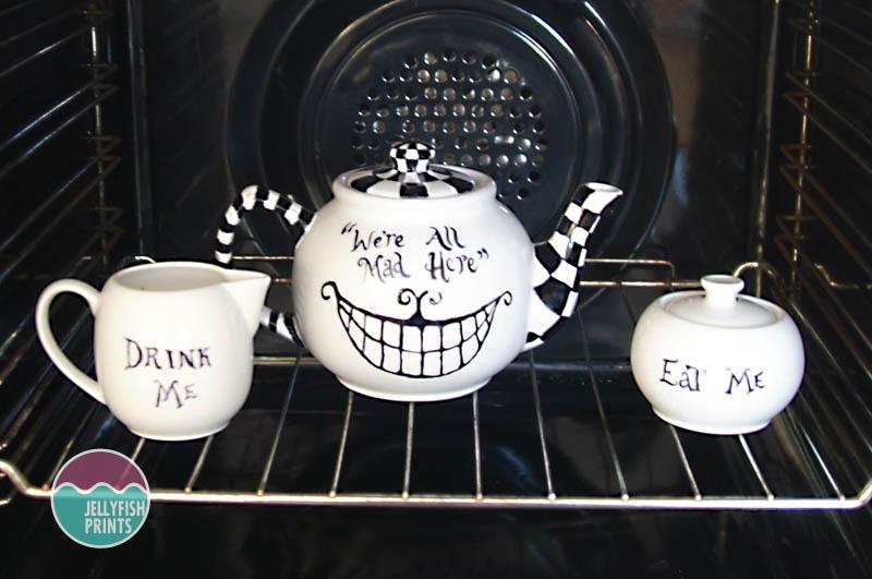 My Alice in wonderland teapot in the oven.