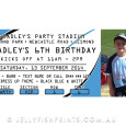 Blue and black invitation for rugby league party - like the sharks