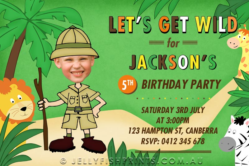 Printable Jungle Safari invitations for a birthday party ...