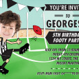 Printable afl Invitation in Collingwood crows colours by jellyfishprints.com.au