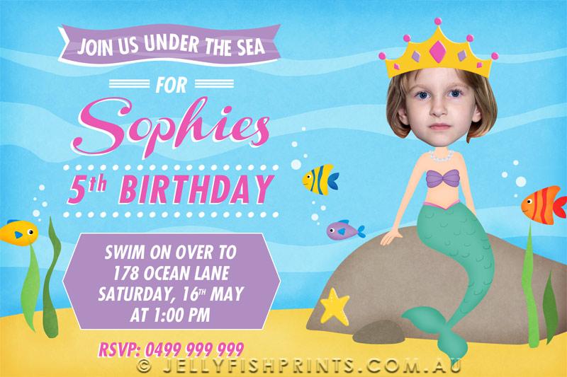 Mermaid Invitations for a girls birthday party – Under the Sea Birthday Invitations