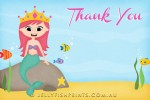 Mermaid party thank you card