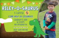Printable Dinosaur birthday invitations for a Dinosaur themed Birthday Party celebration. Green invites.