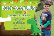 Printable Dinosaur birthday invitations for a Dinosaur themed Birthday Party celebration. Green invites.