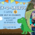 Printable blue version of the Dinosaur birthday party invites.