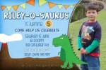 Dinosuar birthday invitation in blue
