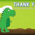 Green dinosaur party thank you note card.