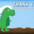 Blue dinosaur birthday party thank you note card.