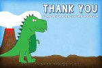 Blue Thank you cards for a Dinosaur birthday party.