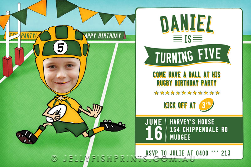 Rugby birthday invitations that you can customise and print.