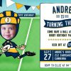rugby party invitations in the brumbies blue yellow and white.