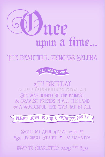A princess party invitation with no photograph
