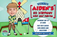 Printable golf party invitation design for a birthday party