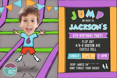 Printable trampoline Invitation  by jellyfishprints.com.au