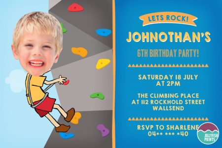 Printable Rock climbing party invitation