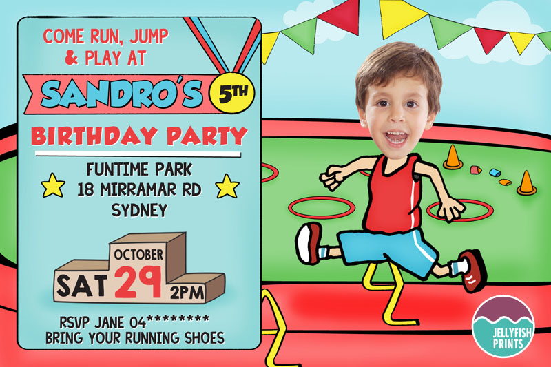 Printable party invitation for a sports party theme