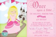 Sweet Princess Birthday Party Invitations in pink for a little girl.