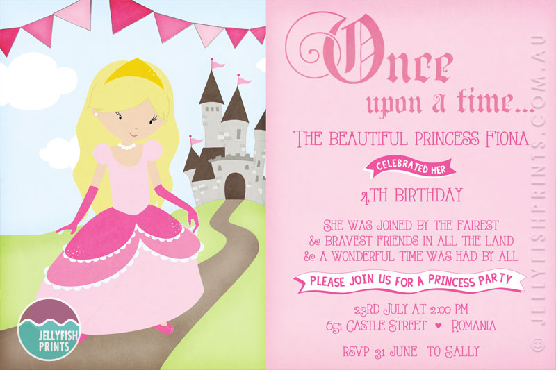 Princess Birthday Party Invitations Printable invites – Little Girl Party Invitations