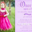 Princess birthday invitations featuring a photo of the birthday girl. Purple and pink coloured themes.