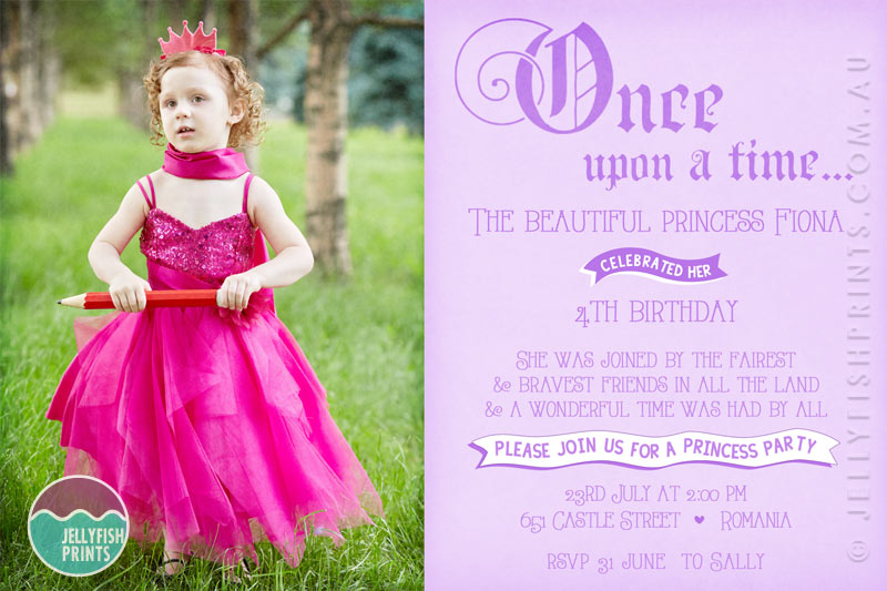 Princess birthday invitations featuring a photo of the ...