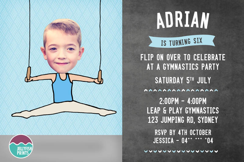 Printable Gymnastic Party Invitation By Jellyfish Prints