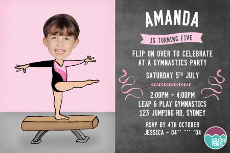 Printable Gymnastics Party Invitations
