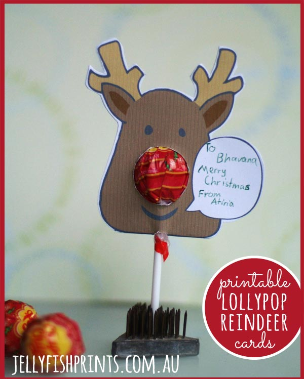 Printable childrens Christmas cards - lollypop reindeers