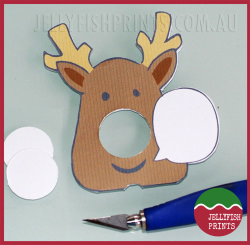 Printable reindeer cards cut out of template