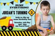 Construction party photo invitation design