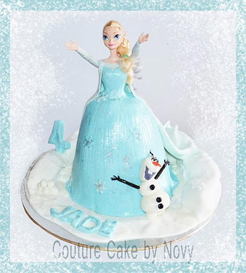 An Elsa character bithday cake from the movie Frozenm