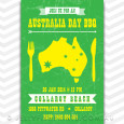 Green and gold Australia Day invitations for a bbq or party celebration.