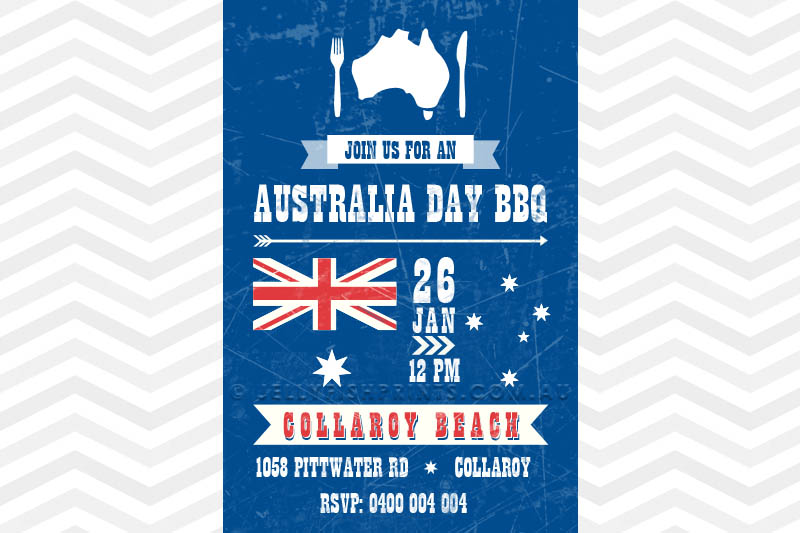 Printable BBQ invitation for Australia Day Celebration