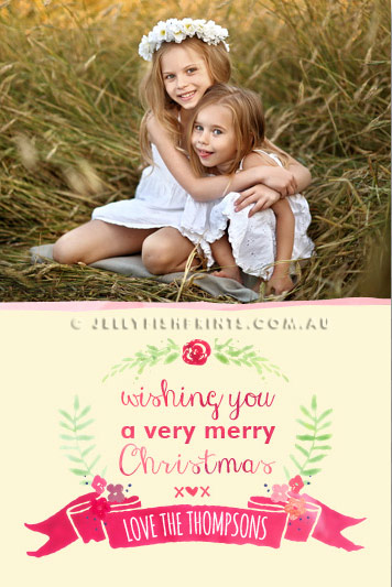 Water colour Merry Christmas greeting card design