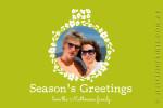 Custom green holiday season photo card