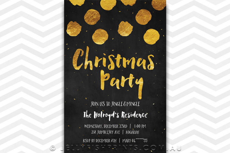 A black chalkboard and gold lettered Christmas Party Invitation